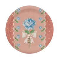 Vintage Wallpaper Blue Roses Coral Polka Dots 7 Inch Paper Plate