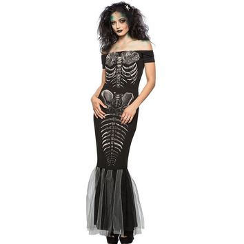 New Halloween Party Skeleton Mermaid Costume Slash Neck Short Sleeve Off Shoulder Bodycon Maxi Dress Women Bandage Dresses