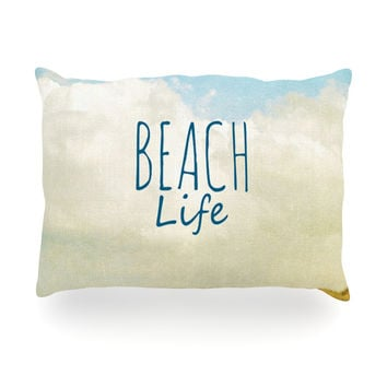 "Iris Lehnhardt ""Beach Life"" Beach Blue Oblong Pillow"