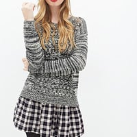 FOREVER 21 Marled Mixed Knit Sweater Cream/Black