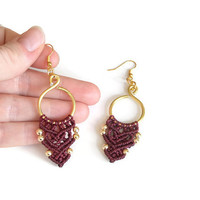 Romantic macrame earrings in red and gold, handmade fashion jewelry, boho earrings with wire and bead, gypsy jewelry, ethno earrings