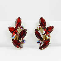 BIG Beautiful Vintage Rhinestone earrings Siam Red Navettes Siam Red AB Gold Tone Finish High End Resale