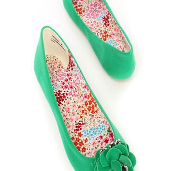 Green Round Toe Floral Shiny Diamond Flats