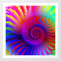 Rainbow Psychedelic Hippie Fractal Art Art Print by Hippy Gift Shop
