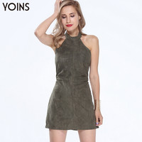 YOINS Summer Style Fashion Women Suede Dress Halter Neck Off Shoulder Sleeveless Mini Dress Sexy Backless Dress