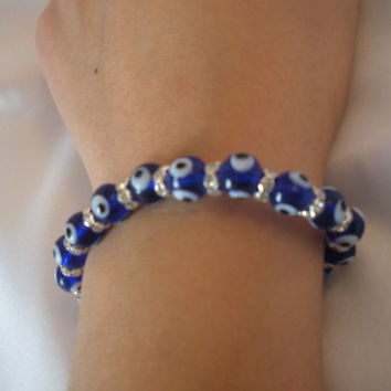 Turkish Evil Eye Glass Bead Bracelet with Swarovski spacer beads