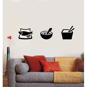 Vinyl Wall Decal Japanese Food Asian Fish Sushi Bar Restaurant Cuisine Stickers Mural (g552)