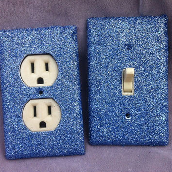 Classic Blue Glitter Switchplate / Outlet Cover Set of Two