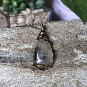 Smoky Quartz Necklace, Polished Crystal Pendant, Boho Jewelry, Witch Store, Bohemian Chic Style, Funky Festival Gear, Reiki Healing, Occult