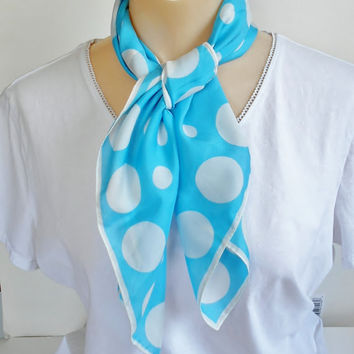 Blue Scarf White Polka Dots , Silky Square Italy Neckerchief, Rolled Hem, Vintage Retro Fashion