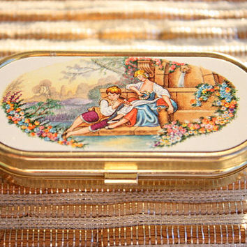 Vintage Gold Pill Box With Fragonard's Lovers