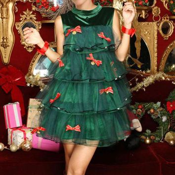 DCCK6HW Women Christmas Tree Clothes Uniform Fashion Sleeveless Cute Bow Frills Gauze Mini Dress