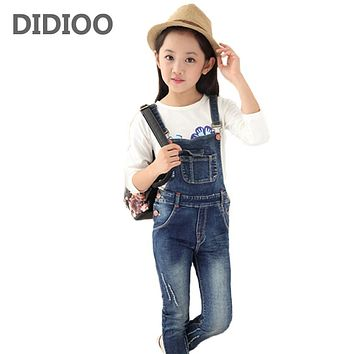Big Girls Denim Overalls Autumn Fashion New Style Children Clothing Casual Kids Pants Solid Girl Denim Jeans