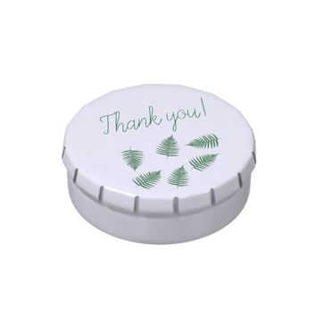 Thank you Green Fern Pattern Candy Tin