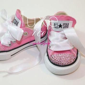 ESBONB Converse Chucks low tops w Swarovski Crystals Pink & Pink Crystals Size 2-10 infant