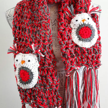 Crochet Red and Gray Owl scarf.  Made by Bead Gs on Etsy. chunky owl scarf