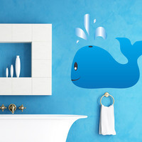 Printed Vinyl Wall Decal Sticker Baby Whale #MGeise113