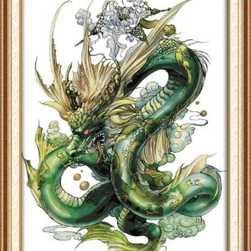 Green Dragon Cross Stitch Kits Animal Chinese Style 14CT White 11CT Printed Embroidery DIY Handmade Needle Work Wall Home Decor