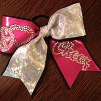 Pink and White Peace Love and Cheer : GLITZ Cheer BowZ, Custom Products From Your Head To Your Toes