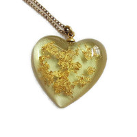 Genuine Gold Flakes Heart Pendant Necklace Yellow Lucite Vintage 14kgf Chain