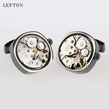 Hot Watch Movement Cufflinks of immovable Lepton Stainless Steel Can't Move Steampunk Gear Watch Mechanism Cufflinks for Mens