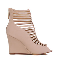 Cut Out Nude Ankle Wedge Booties