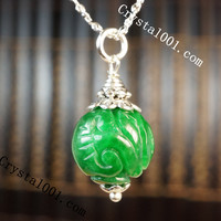 Engraved Chinese Emerald Jade Necklace