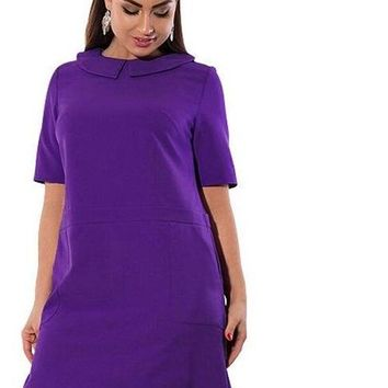 youthquake mod plus size Dress Solid retro vintage Women Clothing twee peter pan collar purple pink red blue burgundy