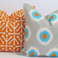 Pillow Covers.TWO PIECE SET.Orange.Gray.Turquoise18x18 inch.Decorator.Housewares.Home Decor.Fall Decor.Ikat.Dominos