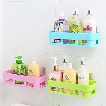 Self-adhesive kitchen storage box organizer  toilet bathroom storage rack wall shelf