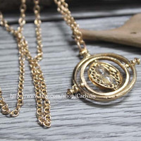 Harry Potter time turner necklace Hermione Granger 18k Yellow plated, girlfriend gift, boutique necklace