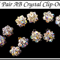 1960s Aurora Borealis Crystal Earrings, 5 Pair! AB Crystal Clip Ons, Vintage Style, Astronaut Wives Club