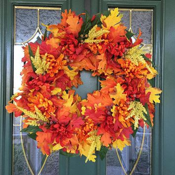 Fall Wreaths - Fall Door Wreath - Autumn Wreaths - Front Door Wreaths for Fall - Thanksgiving Wreath - Autumn Door Wreath - Fall Centerpiece