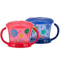 Nuby Designer Series 2 Pack 9 Ounce Snack Keeper - Blue/Red