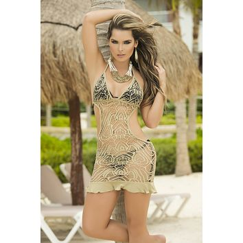 Nude Mocha Crochet Lace Ruffle Bottom Beach Dress Cover Up