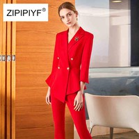 Women's 2-Piece Double Breasted Solid Color Blazer & Pants Suit Set
