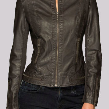 Weathered Black Leather Jacket