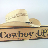 COWBOY UP Sign - Wood Pyrography - Wall Art