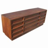6ft Brown Saltman Walnut 12 Drawer Dresser John Keal