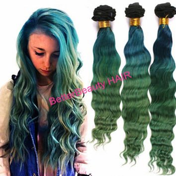 OMBRE 1B Blue Green 3TONS natural wave REMY virgin brazilian human Hair Extensions  3pcs/hair bundle   hair weaving hair weft