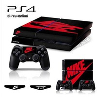 PEAPON Ci-Yu-Online VINYL SKIN [PS4] Whole Body VINYL SKIN STICKER DECAL COVER Nike Air Jordan 1 Retro Black Red Logo Shoe Box for PS4 Playstation 4 System Console and Controllers
