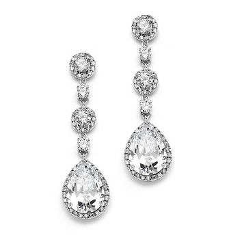 Vintage CZ Bridal Earrings with Pave Drops