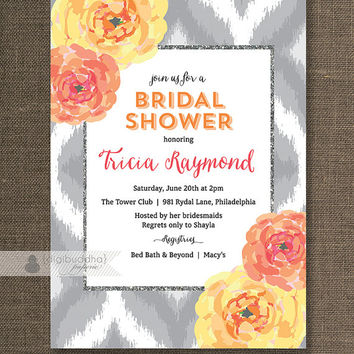 Shop bridal shower invitation coral on wanelo coral bloom ikat bridal shower invitation orange pink yellow f mightylinksfo
