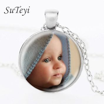Custom Personalized Photo Necklace Pendant Photo of Your Baby Child Mom Dad Grandparent Loved One Gift for Family Member Gift