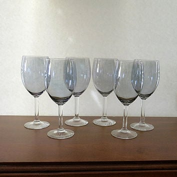 Smoke Gray Crystal Stemware 1960s Vintage 10 Pieces Total 4 Cordial & 6 Wine Stems