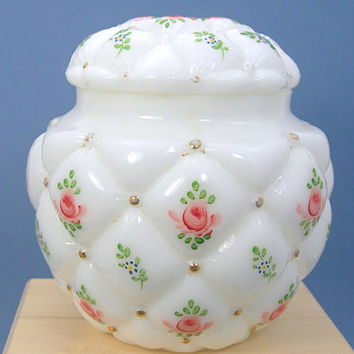 Consolidated Glass White Biscuit Jar, Painted Roses, Gold Gilding, Diamond Quilt Tufted Pillow, 1950s Vintage Victorian Revival Milk Glass