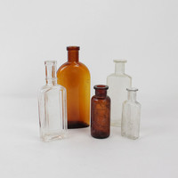 Antique Apothecary Glass Bottle Collection