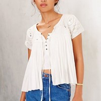 Raga Embellished Open-Front Short-Sleeve Jacket- Cream