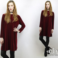 Vintage 90s Oxlood Velvet Mini Dress L XL 90s Grunge Dress Oxblood Velvet Dress 90s Dress Oxblood Dress Goth Dress 1990s Dress XL Dress