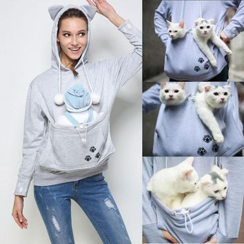 Kangaroo Pet Dog Cat Holder Carrier Coat Pouch Large Pocket Hoodie Top#20